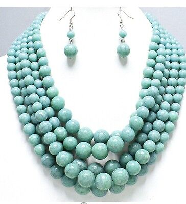 Turquoise Blue Multi Layered Strand Bead Chunky Necklace Earrings Set Silver - Bead Sets