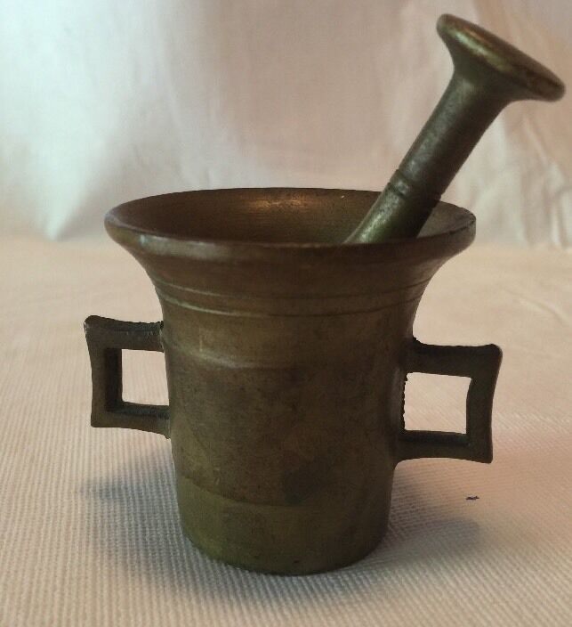 Antique Small Brass Handled Mortar And Pestle From 19th Century
