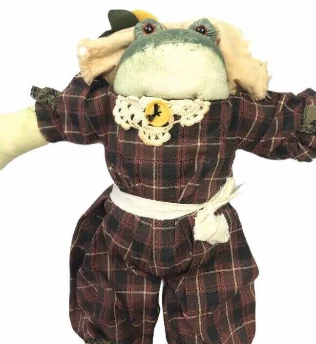 "Vintage Fabric Handmade Stuffed Plush Country Rustic Frog Decorative 17"""
