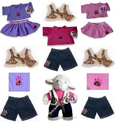 Leopard Teddies (Teddy Bear Clothes fit Build a Bear Teddies Leopard Paw Top Skirt Jeans Outfits)