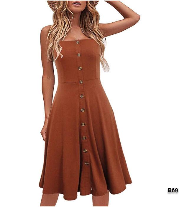 Women Summer Dress Solid Cotton Button down A-Line Spaghetti