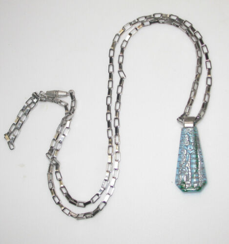 RARE MYSTICAL 1930s ART DECO Egyptian Goddess Turquoise GLASS NECKLACE!