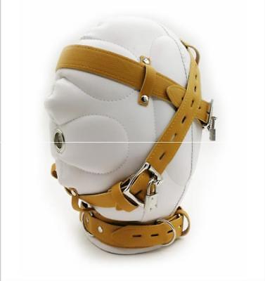 Lockable Leather Gimp Bandage Hood Sensory Deprivation Mask Mouth (Gimp Maske Kostüm)