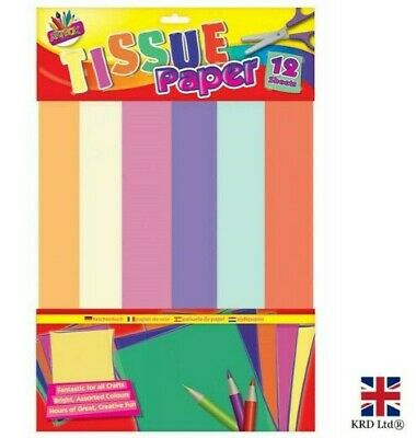 COLOURED TISSUE PAPER PACK Plain Gift Wrapping Sheet Kids Art Craft Activity UK