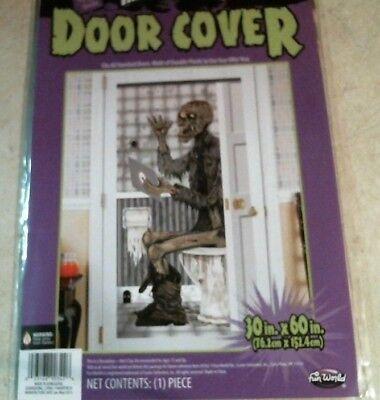 Halloween Toilet (Halloween Indoor Outdoor 30 x 60 Zombie On Toilet Door Cover FREE)