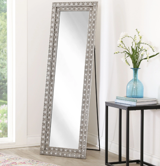 Rhinestone Mirror Full Length Freestanding With Stand Silver