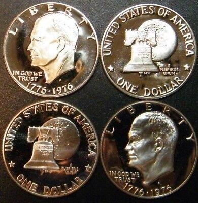 1976 S Eisenhower Dollar Type 1 & 2 Gem Cameo Clad Proof 2 Coin Ike Set US Mint  1976 Eisenhower Dollar Type