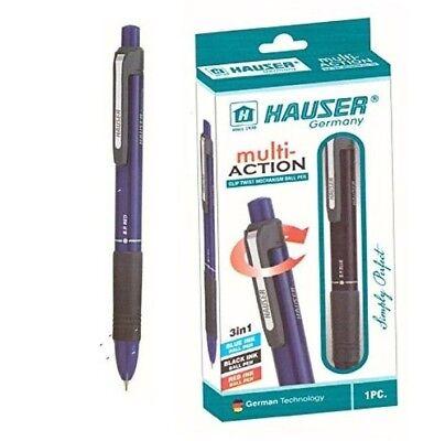 Hauser Multi Action 3 in 1 (Blue, Black, Red) Ink Ball Pen | CLIP TWIST| -1 PEN