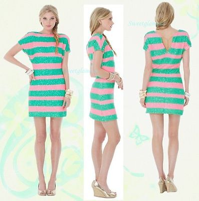 $238 Lilly Pulitzer Ames Colorblock Tropical Pin Cucina Stripe Sequin Dress