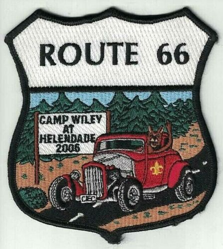 "BSA Route 66 Camp Wiley at Helendade 2006 Boy Scouts Patch ~ 4.5"" x 4"""