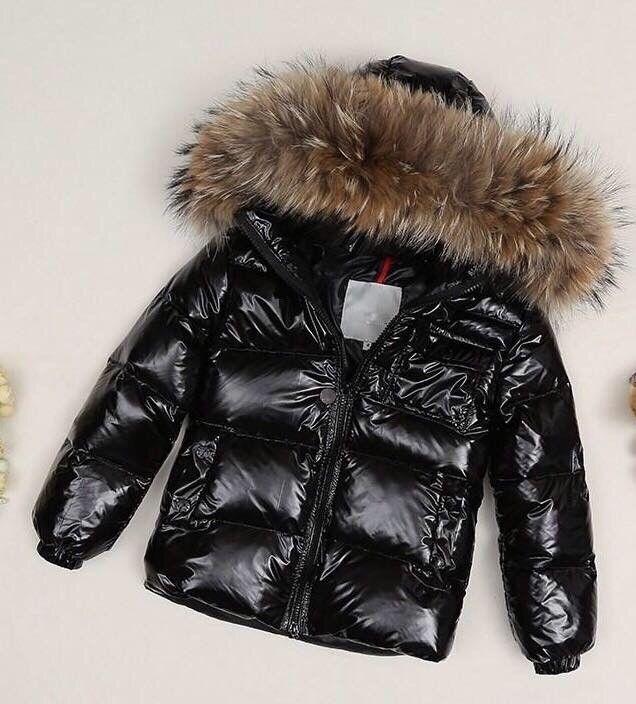 9619f2412 Unisex Boys Children Moncler Black Down Raccoon Jacket