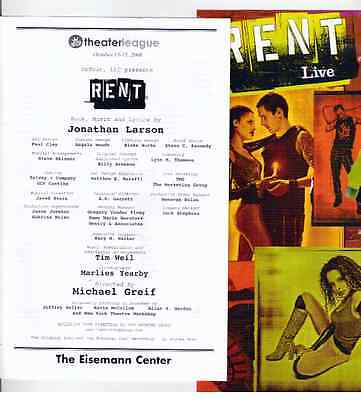 Rent Playbill Program   Flyer The Eisemann Center Richardson Texas  2006