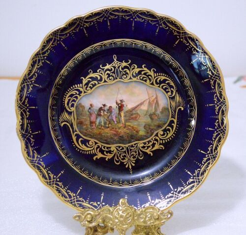 """Helena Wolfshon Antique (1843 ~ 1878) 8 1/2"""" Dark Cobalt Decoration Plate"""