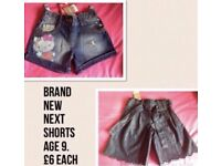 Next shorts brand new with tags age 9