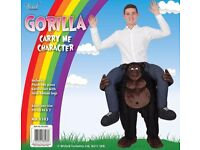 "Carry Me Gorilla Costume One Size by Wicked Costumes fits up to 6'2"" unworn & new in bag"