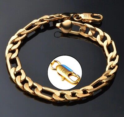 18k Yellow Gold Mens Womens Cuban Curb Link Chain Bracelet 7
