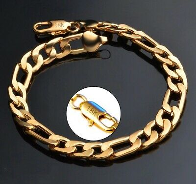 18k Yellow Gold Mens Womens Figaro Cuban Curb Link Chain Bracelet w Gift Pg D698 Curb Mens Gold Bracelet