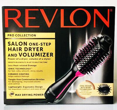 Revlon Pro Collection Salon Einstufiger Haartrockner & Volumizer Pinsel Schwarz / Pink NEU