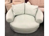 Sky blue fabric swivel chair