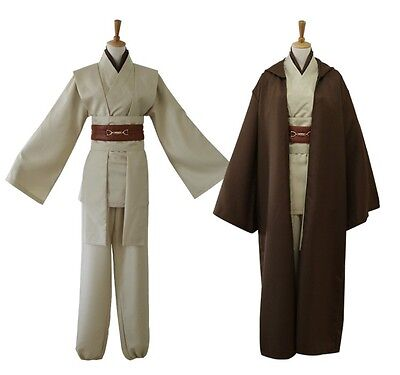 Jedi Knight Adult Obi Wan Kenobi Costume Cloak Halloween Cosplay Brown Wars Star - Adult Knight Costumes
