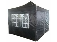 3x3m BLACK HEAVY DUTY POP-UP PYRAMID ROOF WATERPROOF GAZEBO TENT MARQUEE