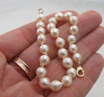 "14k Yellow Gold Clasp 6mm Ivory White Pearl Strand Bracelet 7 1/4"" long"