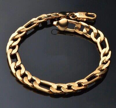 18k Yellow Gold Mens Womens Wide 8mm Figaro Cuban Curb Link Chain Bracelet D698 2