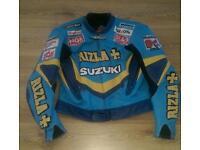 Suzuki Rizla Motorcycle Leather Jacket Size Large