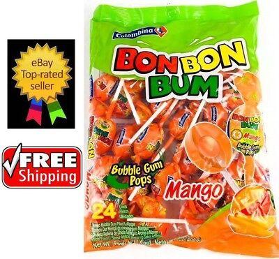 Colombina Bon Bon Bum Mango Flavor Bubble Gum Filled Pops 24 Lollipops 1 - Lolli Pops