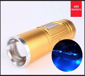 35W Blue Professional Night Fishing Flashlight Blue Light Waterproof
