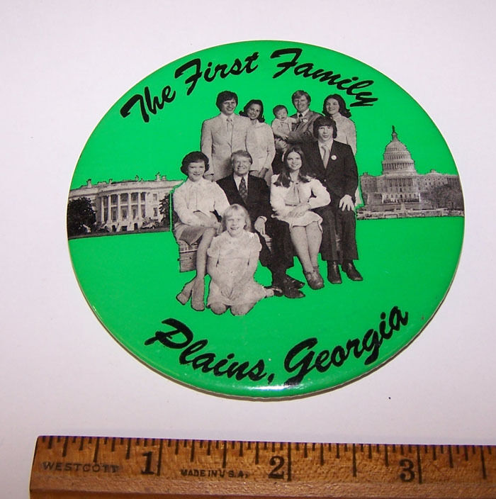 THE FIRST FAMILY PLAINS GEORGIA Photo Pinback Button - JIMMY CARTER