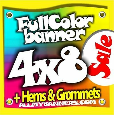 4x8 Printed Full Color Custom Banner Sign Vinyl Grommets Hems Ambsp