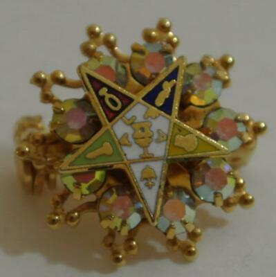 NICE Vintage Rhinestone & Gold Order Of The Eastern Star OES Masonic Brooch Pin for sale  Shipping to Canada