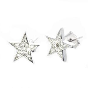 925 Silber massiv Ohrstecker Stern mit Zirkonia Steinen  Bella Carina F257