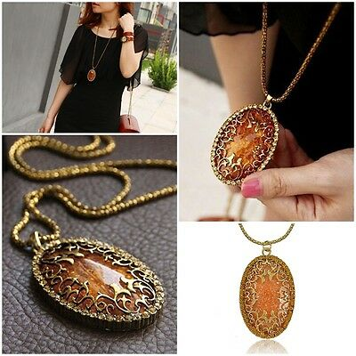 Fashion Womens Oval Amber Hollow Rhinestone Long Chain Pendant Necklace Jewelry