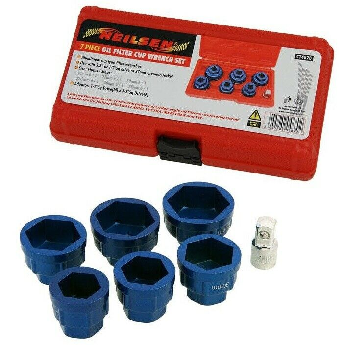 Oil Filter Wrench Socket Set 24mm 27mm 30mm 32mm 36mm 38mm Neilsen CT4870