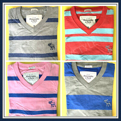 Abercrombie & Fitch Muscle Fit Mens V-neck T-Shirt STRIPED Size M, L U Pick NEW