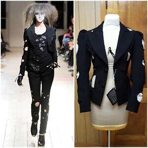 NWT Yohji Yamamoto Black Jacket Holey Cutouts Puffed Shoulders SS 2010 Size 2