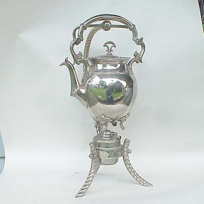 Antique / VERY Vintage J L Daalderop & Zn Silverplate Teapot Warmer&  Stand NICE