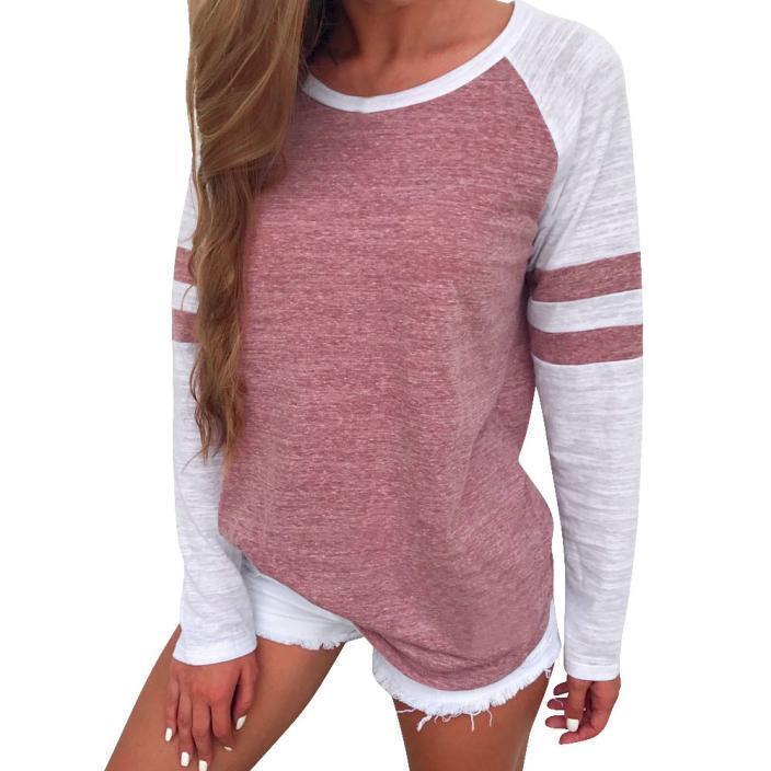 Fashion Women Ladies Long Sleeve Splice Blouse Tops Clothes Patchwork T Shirt