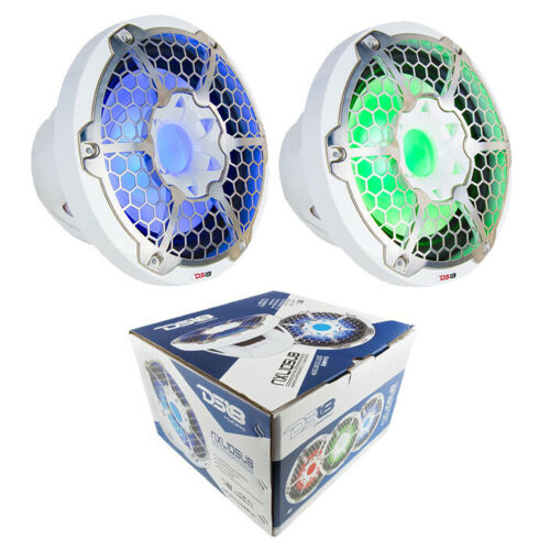 "2x Marine Subwoofers 10"" White Power Sport RGB LED DS18 Hydr"