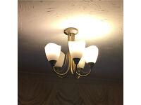 5 bulb light fitting antique gold colour