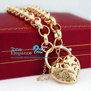 18k-Gold-GF-Heart-Padlock-solid-ladies-bracelet-with-Belcher-Ring-chain
