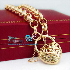 18k-Gold-GF-Heart-Padlock-solid-ladies-bracelet-with-Belcher-Ring-chain