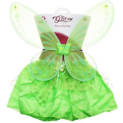 Kostüm FEE SCHMETTERLING Rock Flügel grün Glitzer Fairy NEU