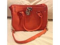 Michael Kors orange leather Hamilton tote bag