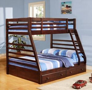 BUNK BED SINGLE OVER DOUBLE SOLID WOOD