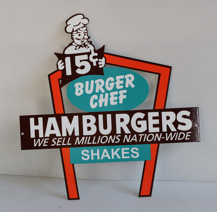 "16"" BURGER CHEF HAMBURGERS 15c Arch Restaurant Diecut Display Sign modern retro"