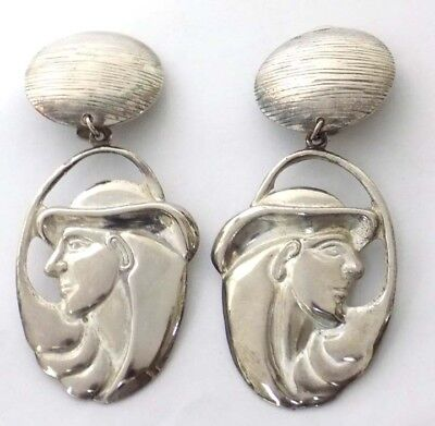 Dangling Silvertone Clip Earrings Deco Style Man with Long Hair & Hat](Costumes For Men With Long Hair)