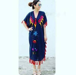 Boho Style! Hand Embroidered Cotton Dress.Great for summer! Manly Vale Manly Area Preview